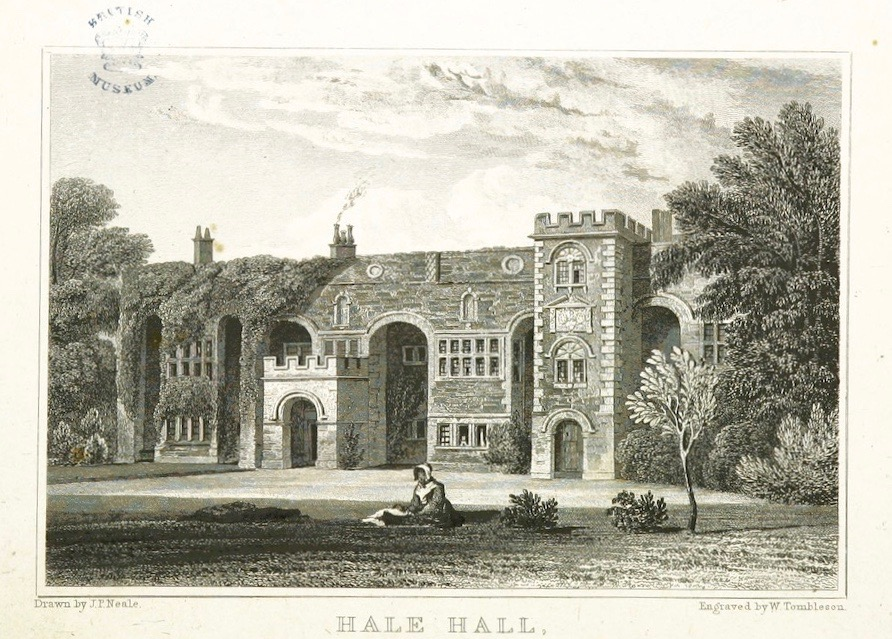 Engraving of Hale Hall by Neal, 1824