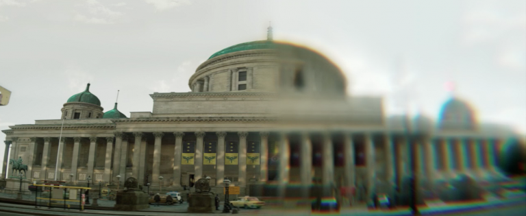 Photo of St George's Hall, Liverpool, with CGI enhancements