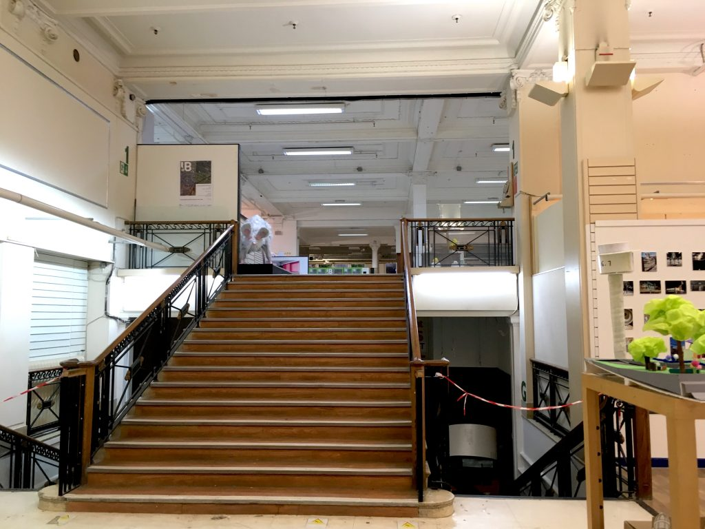Photograph of staircase in George Henry Lee Building, Liverpool