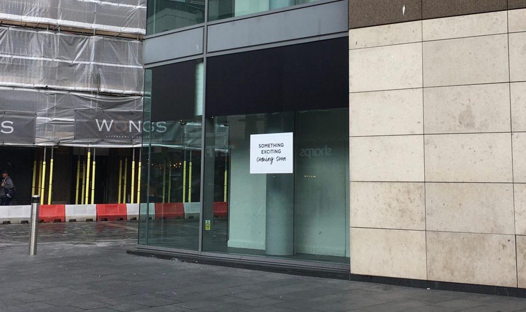 Photograph of empty shop window on Whitechapel, Liverpool