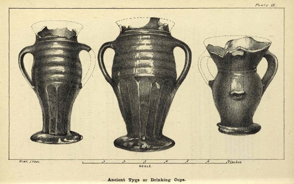 Old drawing of tygs, three handles cups