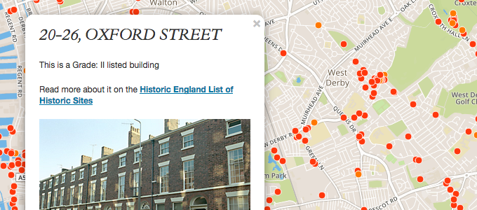 Liverpool listed building map screenshot