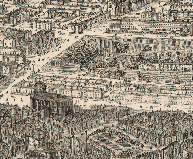 Panoramic map of Liverpool, 1865