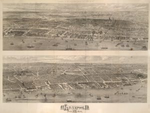 Full image of the 1865 View of Liverpool from the Mersey (map print)