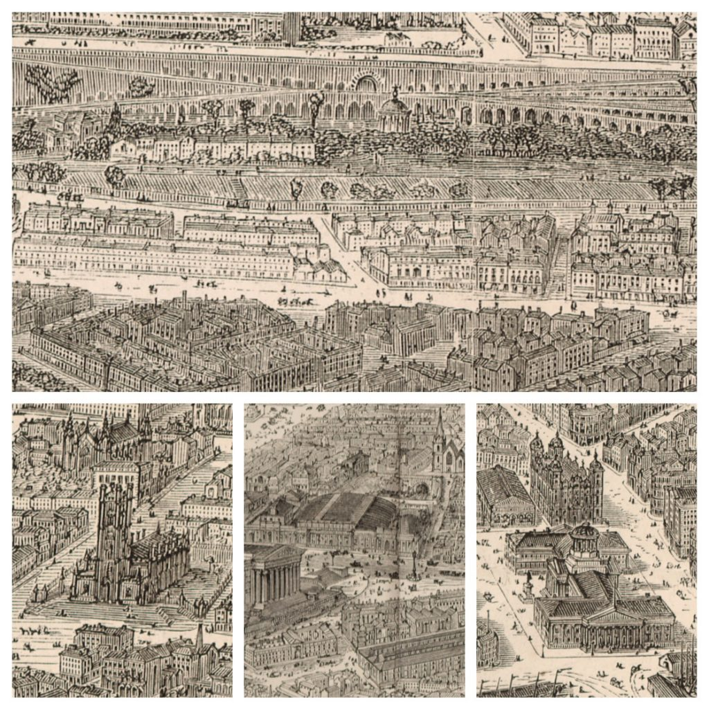 Details of the map print Illustrated London News View of Liverpool from the Mersey (1865)