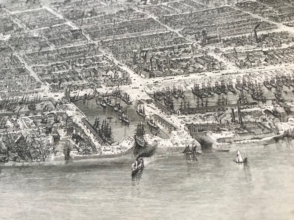 Highly detailed birds eye view of Victorian Liverpool