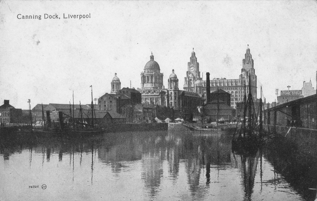 Photograph of Canning Dock and two Graces, looking north