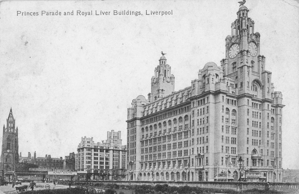 Photograph of the north west side of the Liver Building, Liverpool