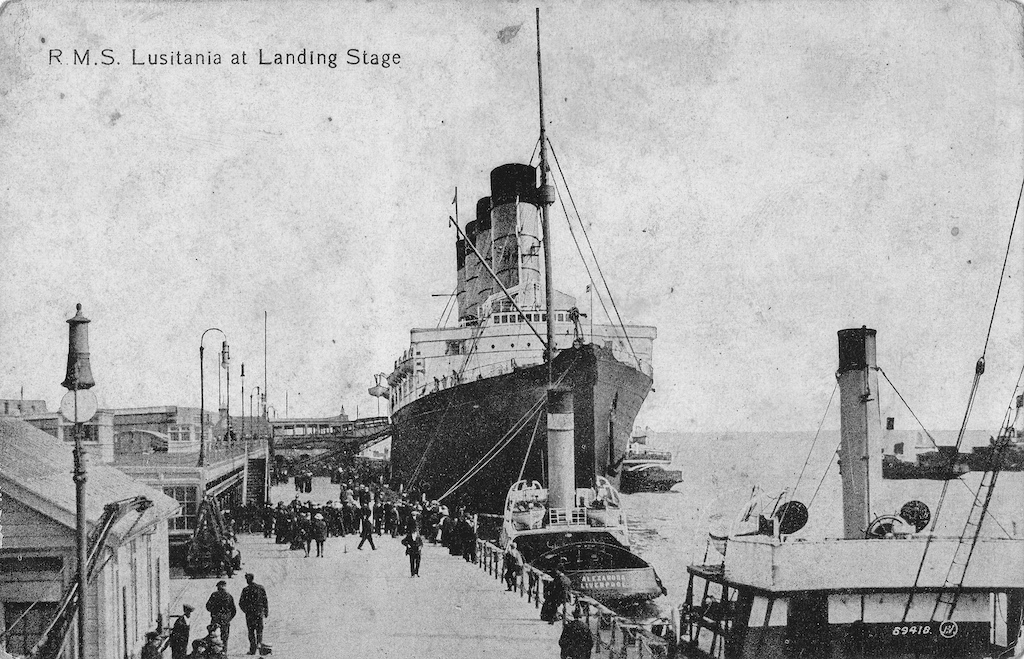 Photograph of the ship Lusitania at Liverpool landing stage