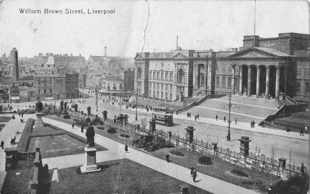 Photograph of William Brown Street, Liverpool, looking west