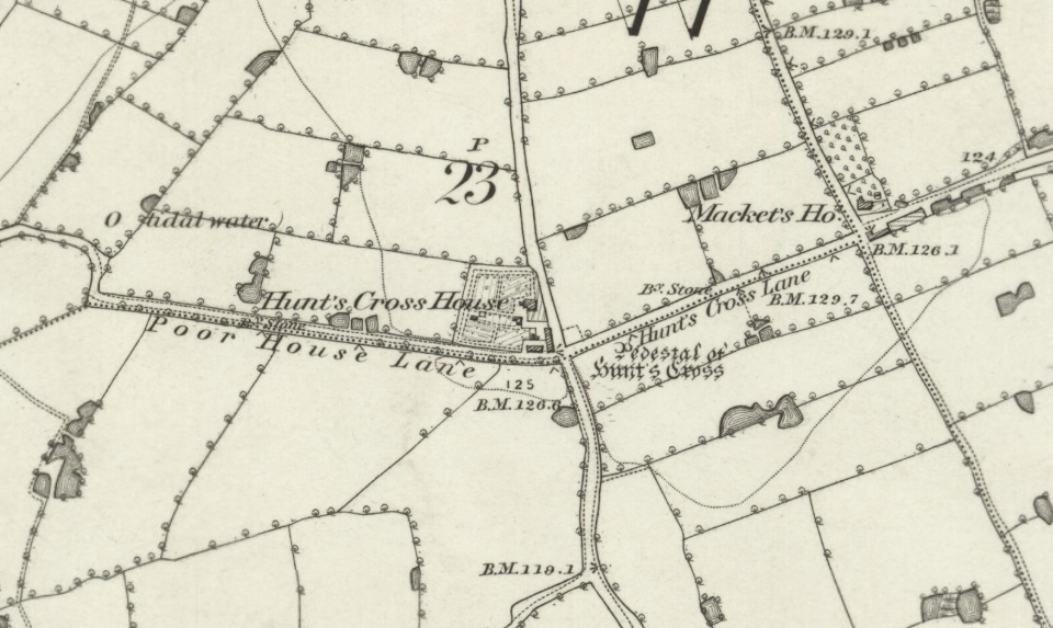 Ordnance Survey map of Hunts Cross, Liverpool