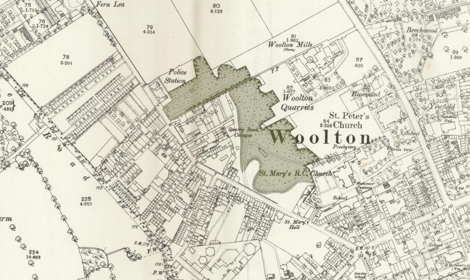 Coloured area on an Ordnance Survey map of Woolton, highlighting the quarry area