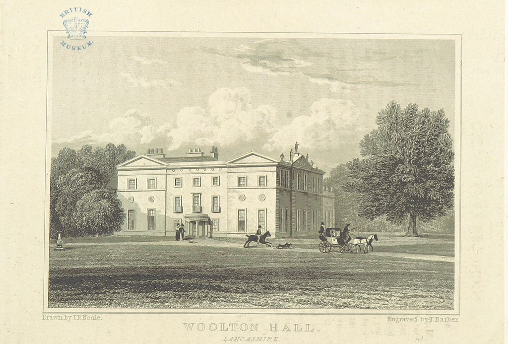 Engraving of Woolt Hall, Liverpool, by JP Neale